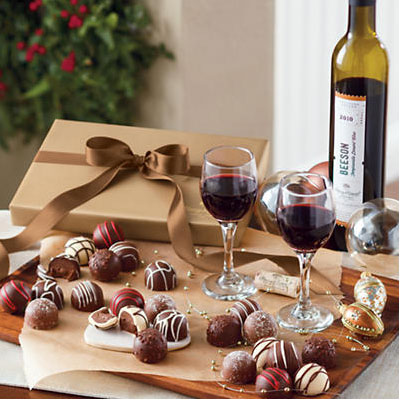 Harry & David Gourmet Chocalate Truffles and Dessert Wine Gift Set