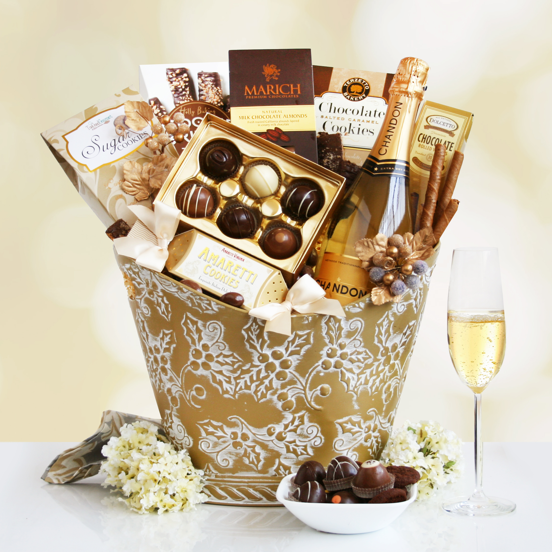 Elegant Holiday Gift Basket Wine Lovers Shopping Mall
