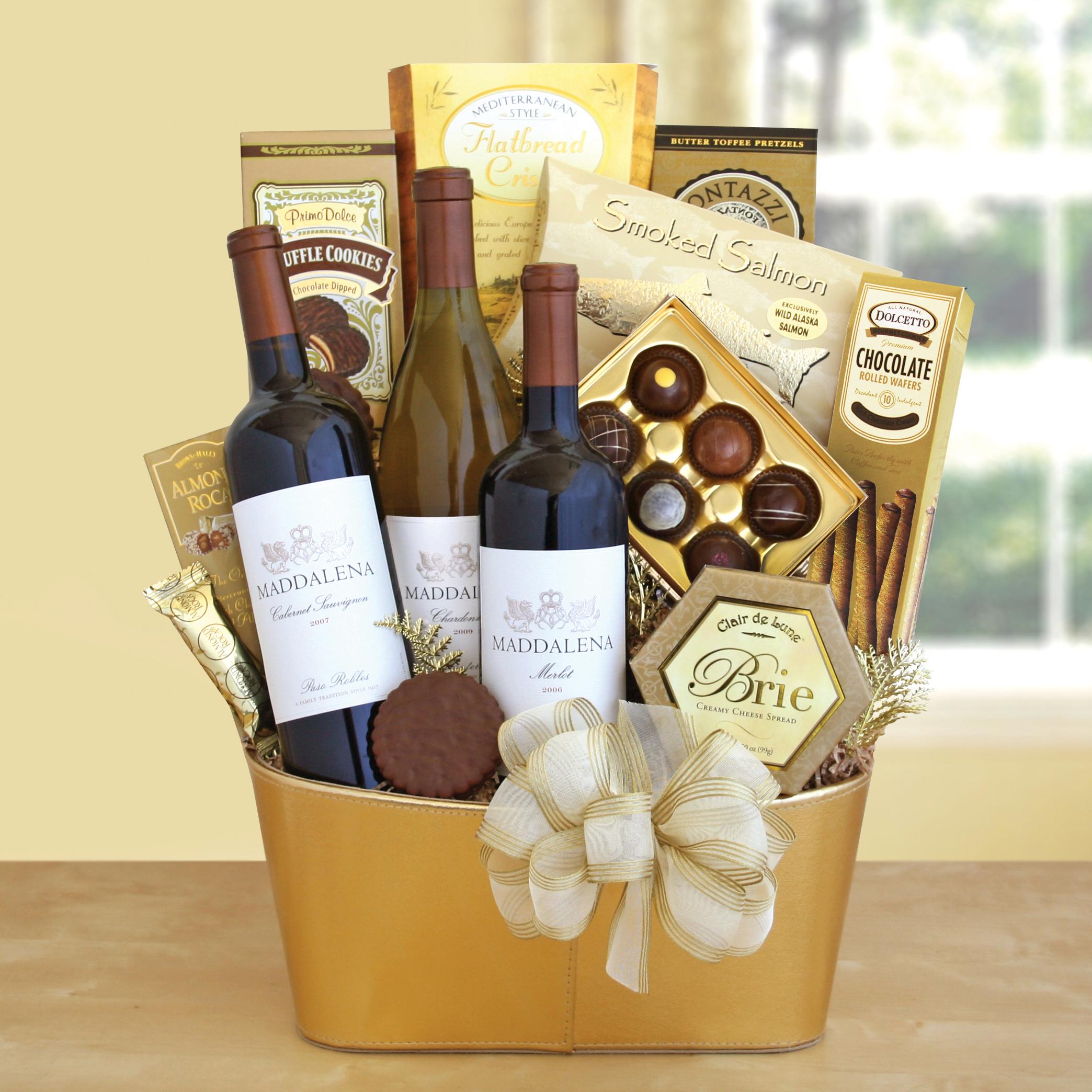 Golden Vineyard Gourmet Gift Basket Wine Lovers