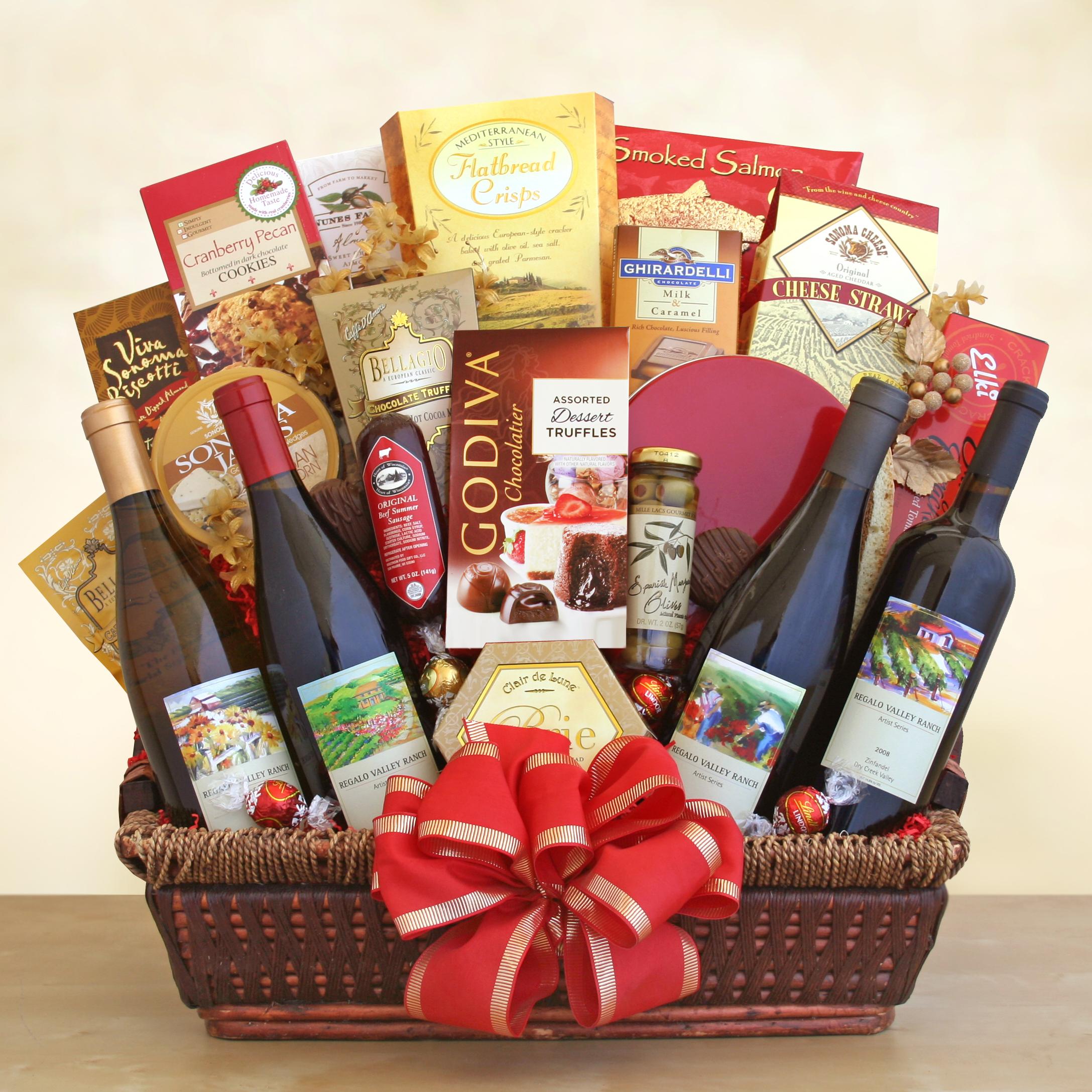 California splendor gift basket wine lovers shopping mall