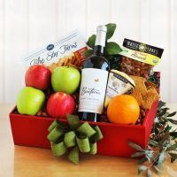 Organic Gift Basket with Wine, Fruit and Nuts