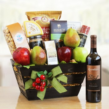 Holiday Fruit and Wine Gift Basket