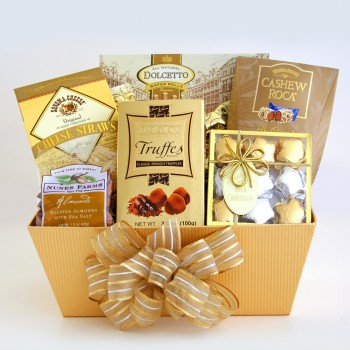 Golden Chocolate Delights Gift Basket